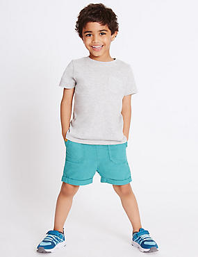 Cotton Blend Shorts (3 Months - 5 Years), TURQUOISE, catlanding