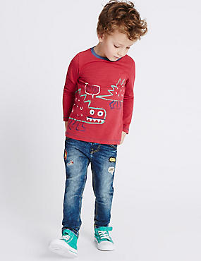 Cotton Fashion Jeans with Stretch (3 Months - 5 Years), DENIM, catlanding