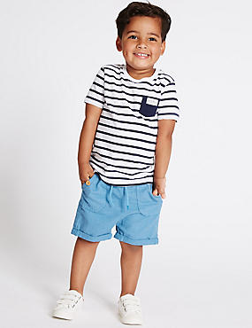 Cotton Blend Shorts (3 Months - 5 Years), BLUE, catlanding