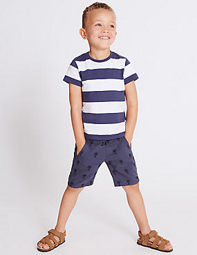 Pure Cotton Embroidered Shorts (3 Months - 5 Years), NAVY, catlanding