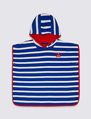 Pure Cotton Striped Hooded Towel (0-8 Years), NAVY MIX, catlanding