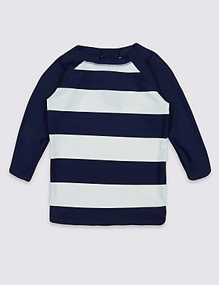 Striped Rash Vest (0-14 Years), BLUE MIX, catlanding