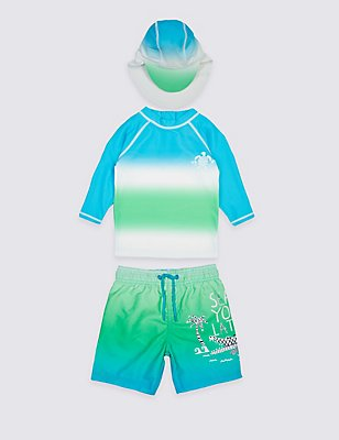3 Piece Printed Swim Outfit (0-5 Years) , BLUE MIX, catlanding