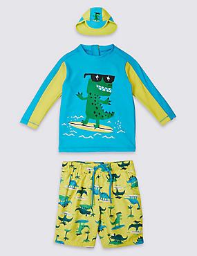 3 Piece Dinosaur Print Swim Outfit (0-5 Years), GREEN MIX, catlanding