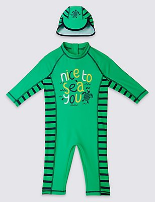 2 Piece Slogan Swim Outfit (0-5 Years), GREEN MIX, catlanding