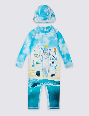 2 Piece Printed Swim Outfit (0-5 Years) , MULTI, catlanding