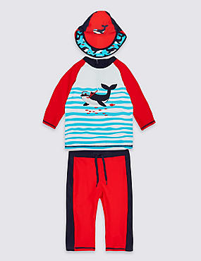 3 Piece Swim Outfit (0-5 Years), RED MIX, catlanding