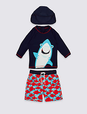 3 Piece Shark Print Swim Outfit (0-5 Years), RED MIX, catlanding