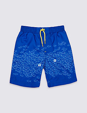 Fish Print Swim Shorts (0-8 Years), BLUE MIX, catlanding