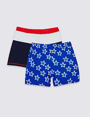 2 Pack Assorted Swim Shorts (0-8 Years), BLUE MIX, catlanding