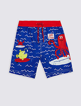 Printed Swim Shorts (0-5 Years), BLUE MIX, catlanding