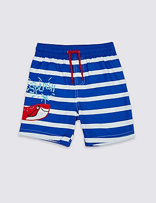 Striped Swim Shorts (0-5 Years), BLUE MIX, catlanding