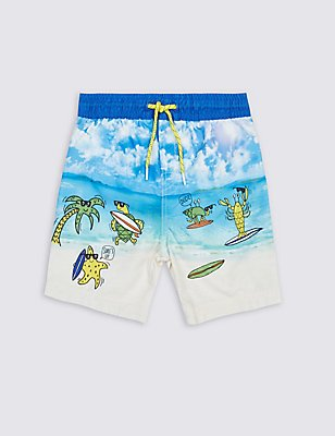 Printed Swim Shorts (0-5 Years), WHITE MIX, catlanding