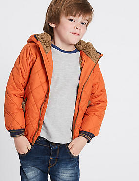 Hooded Neck Quilted Coat with Stormwear™ (3 Months - 7 Years), DARK ORANGE, catlanding