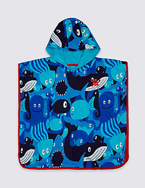 Pure Cotton Hooded Towel (3 Months - 7 Years), NAVY MIX, catlanding