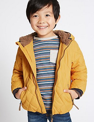 Padded & Quilted Coat with Stormwear™ (3 Months - 5 Years), Ochre, catlanding