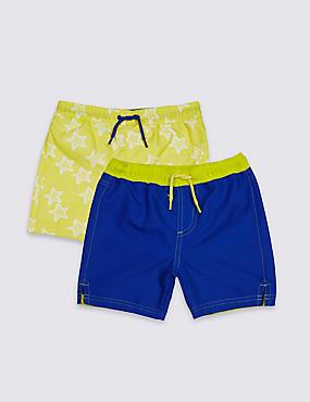 2 Pack Swim Shorts (0-8 Years), YELLOW MIX, catlanding