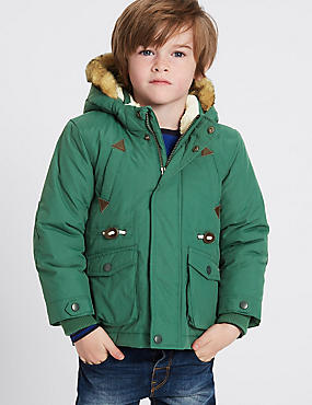 Faux Fur Hooded Parka with Stormwear™ (3 Months - 7 Years), GREEN, catlanding