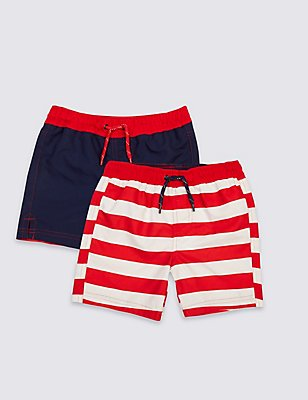 2 Pack Swim Shorts (0-14 Years), RED MIX, catlanding