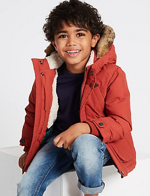 Hooded Coat with Stormwear™ (3 Months - 7 Years), BURNT ORANGE, catlanding