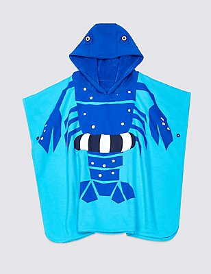 Pure Cotton Hooded Towel (3 Months - 7 Years), BLUE MIX, catlanding