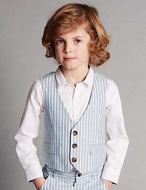 Pure Cotton Striped Waistcoat with Supercrease™ (1-7 Years)