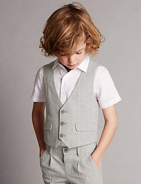 Cotton Rich Striped Supercrease™ Waistcoat (1-7 Years)