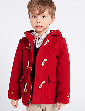 Paddington™ Duffle Coat with Wool (3 Months - 6 Years), RED, catlanding