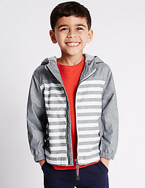 Pure Cotton Hooded Chambray Striped Jacket (1-7 Years)