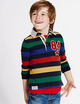 Pure Cotton Striped Rugby Top (3 Months - 5 Years), MULTI, catlanding