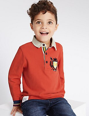 Pure Cotton Rugby Top (3 Months - 5 Years), RED, catlanding