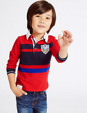Pure Cotton Striped Rugby Top (3 Months - 5 Years), RED MIX, catlanding