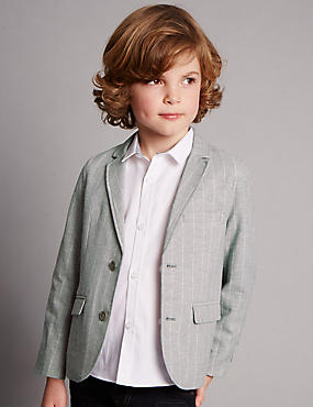 Cotton Rich Supercrease™ Striped Blazer with Linen (1-7 Years)