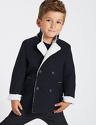 Faux Fur Borg Pea Coat (3 Months - 5 Years), DARK NAVY, catlanding