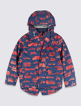 Faux Leather Vehicle Print Hooded Fisherman Jacket (1-7 Years), NAVY MIX, catlanding