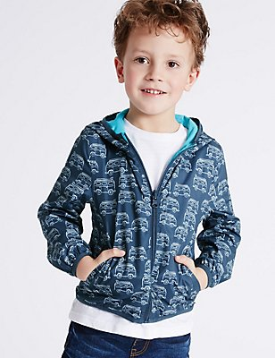 All Over Print Hooded Jacket with Stormwear™ (3 Months - 5 Years), NAVY, catlanding