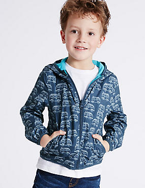 All Over Print Hooded Jacket (3 Months - 5 Years), NAVY, catlanding