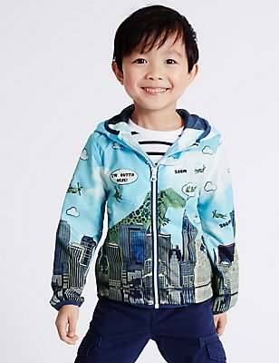 All Over Print Anorak Jacket (3 Months - 5 Years), GREEN MIX, catlanding
