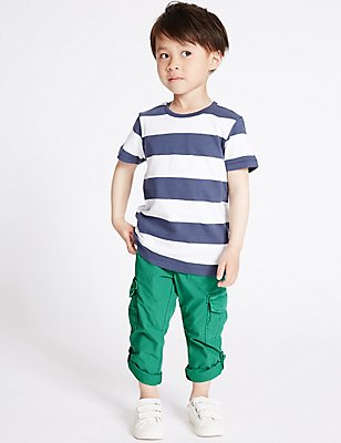 Pure Cotton Trousers (3 Months - 5 Years), GREEN, catlanding