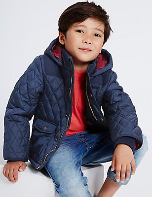 Hooded Neck Quilted Coat with Stormwear™ (3 Months - 5 Years), NAVY, catlanding