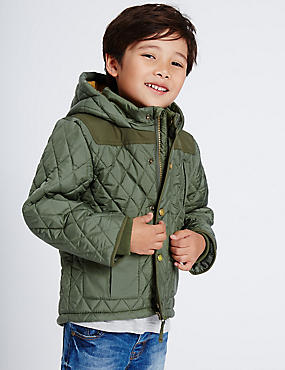 Quilted Coat (3 Months - 7 Years), KHAKI, catlanding