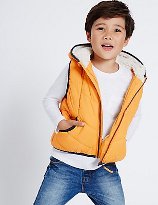 Padded 2 Pocket Gilet (3 Months - 7 Years), OCHRE, catlanding