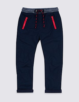 Pure Cotton Drawstring Trousers (3 Months - 5 Years), DARK NAVY, catlanding