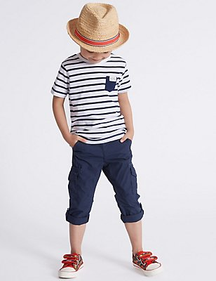Pure Cotton Trousers (3 Months - 5 Years), NAVY, catlanding