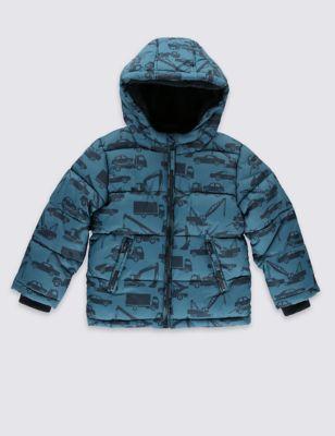 Утеплённая куртка с машинками для мальчика 1-7 лет