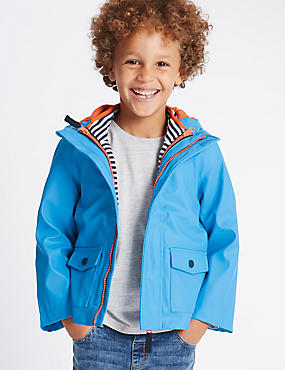 Fisherman Hooded Jacket (1-7 Years), TURQUOISE, catlanding