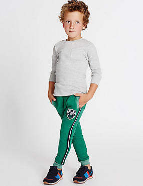 Cotton Rich Badge Joggers (3 Months - 5 Years), SEA GREEN, catlanding
