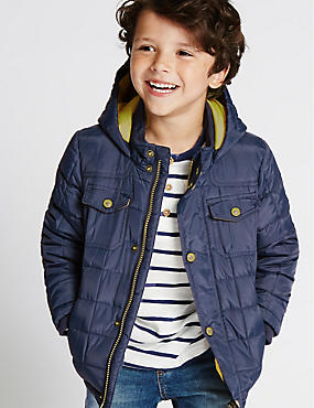 Quilted Hooded Jacket (1-7 Years), NAVY, catlanding