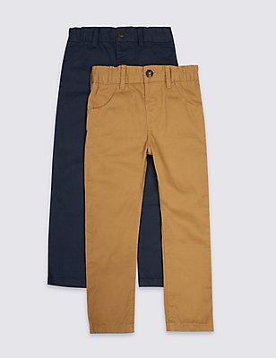 2 Pack Pure Cotton Chinos (3 Months - 5 Years), STONE MIX, catlanding