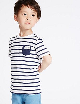 Pure Cotton Striped T-Shirt (3 Months - 5 Years), WHITE MIX, catlanding